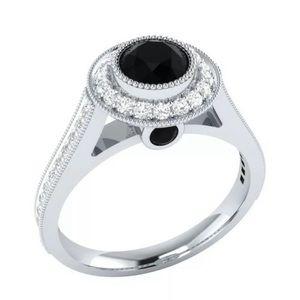 RADIENT BLACK & WHITE SAPPHIRE SILVER RING